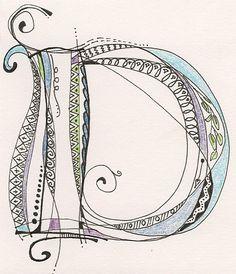 "Dielle Designs: Monogram ""D"" Inspired by Joanne Fink's Zenspirations video on monograms."