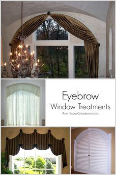 Several beautiful examples of eyebrow window treatments are shown to help you treat this difficult type of window.