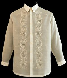 Piña-Jusi Barong Tagalog - Barongs R us Modern Filipiniana Gown, Filipiniana Wedding Theme, Wedding Attire, Barong Tagalog, Filipino Wedding, Filipino Culture, Tropical Fashion, Magazine Collage, Line Shopping