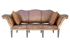 """Leather-Upholstered Sofa/Bench on OneKingsLane.com   As described by Melissa Levinson Antiques:  Carved painted and Borghese gilt leather upholstered sofa standing on eight legs. Spaced nailhead trim detail. Includes pair of leather pillows. Back is removable so it doubles as a bench   Italy   104""""w x 38""""d x 46""""h x 19""""seat ht   7,495.00 USD"""