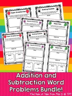 This Addition and Subtraction Word Problems Bundle contains 20 Math Problems using numbers 0-10. Each page contains: A Number Line to use to solve the problem. A Drawing Box is to match a picture to the word problem. An Equation Box to write the sum.