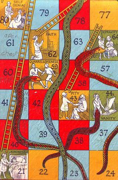 """""""Snakes and Ladders"""" ~ Vintage game, date and designer unknown.  Classic kids' boardgame in England, its American counterpart is """"Chutes & Ladders""""."""