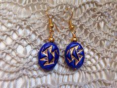 Pop of blue geometric earrings by Momsawrapstar on Etsy https://www.etsy.com/listing/231578419/pop-of-blue-geometric-earrings