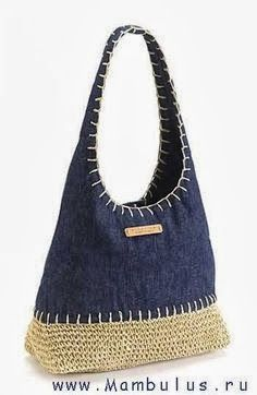 Crochet Hemp & Denim Bag~ Inspiration only - I think I will reverse this idea. Bag with denim bottom and crocheted top! Crochet Shell Stitch, Bead Crochet, Diy Crochet, Crochet Handbags, Crochet Purses, Crochet Bags, My Bags, Purses And Bags, Jean Purses
