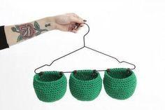 Hanging crochet baskets - Molla Mills Idea:vGreat for holding small jewellery in bathroom Crochet Home Decor, Crochet Crafts, Yarn Crafts, Crochet Projects, Crochet Squares Afghan, Crochet Motifs, Crochet Patterns Amigurumi, Cute Crochet, Crochet Yarn
