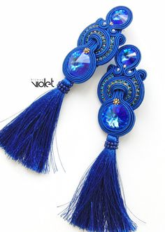 Lacey soutache earrings / blue extra big by Violetbijoux on Etsy