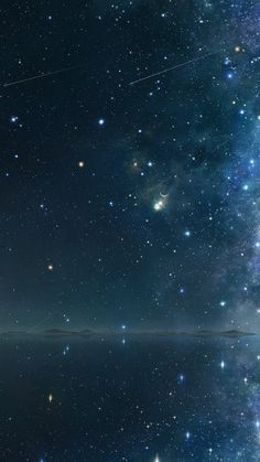 Night Sky Falling Stars Lake Reflection iPhone 6 Wallpaper