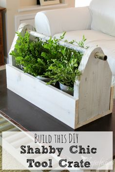 Inspired by Joanna Gaines, this shabby chic tool crate is an easy DIY and will bring charm to your living room. Get the full tutorial here!