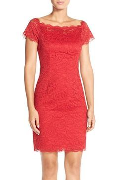Adrianna Papell Off the Shoulder Lace Sheath Dress available at #Nordstrom