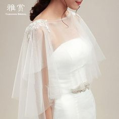 Romatic White/Ivory Shawl Wedding Bridal Cape Stoles Shrug Wrap Bolero #WrapsShawls