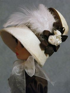 "Regency Bonnet for Ellowyne, part of a OOAK Ensemble ""Pemberley Revisited"" by lcdollcreations via eBay, ends 2/9/14 Bid $66.00"