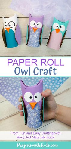 Jan 2020 - Easy and adorable toilet paper roll owl craft from Kimberly McLeod's Fun and Easy Crafting with Recycled Materials book. Kids will have fun making and playing with their own cute owl creations! Toilet Paper Roll Crafts, Diy Paper, Paper Crafts, Paper Craft For Kids, Owl Crafts, Easy Crafts, Arts And Crafts, Animal Crafts For Kids, Owls For Kids