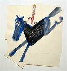 Rose Wylie, Blue Horse with Girl, Watercolor and collage on paper, x 33 inches Art For Art Sake, Make Art, Marcelle Ferron, Rose Wylie, Female Painters, Blue Horse, Travel Illustration, Modern Artists, Outsider Art