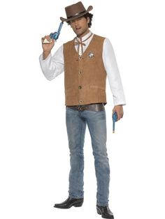 Instant Cowboy Costume, Shirt with Mock Waistcoat, Neck Tie, Belt and Badge