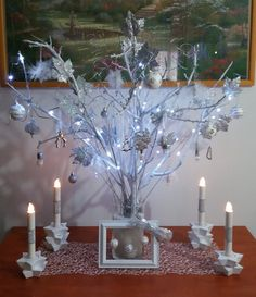 DIY Christmas centrepiece. 2 branches painted white in a glass vase. Make some Christmas tree ornaments add some lights and ..... Merry Christmas.