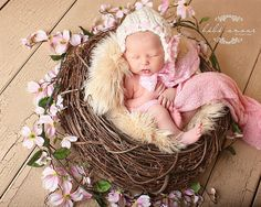 Newborn Bonnet -Pretty Twists Vintage line - 'FLOWERS AND LACE' by Knitbysarah, Stitches by Sarah Image by Bebe Amour Photo by Leslie Lane; Benbrook, TX http://www.bebeamourphoto.com
