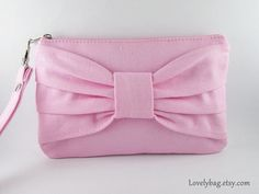 SUPER SALE  Light Pink Bow Clutch  Bridal Clutches by LovelyBag, $9.90