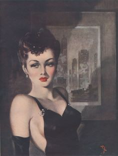 David Wright (1912-1967, British), Dec. 1945, The Dark Lady of the Skyscrapers, Daily Sketch Pinups.