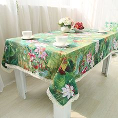 Cotton Linen Tablecloth Green Lotus Dinner Kitchen Decorative Table Top Cover (55x55inch(140x140cm))
