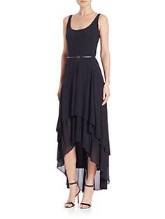 Akris - Jersey Crepe Ruffled Hi-Lo Dress