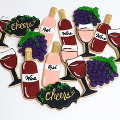 Wine Theme Cookies Sugar Cookie Icing, Royal Icing Cookies, Sugar Cookies, Diva Birthday Cakes, Birthday Cookies, Wine Cookies, Cut Out Cookies, Wine Tasting Party, Wine Parties