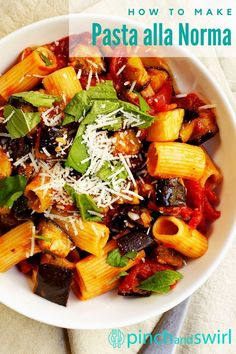 The classic pasta dish from Sicily: Pasta alla Norma. You'll love this easy, light recipe with eggplant that's not fried, but baked until tender and custardy. A meal that's easy enough for a busy weeknight or a lazy weekend! Easy Pasta Recipes, Light Recipes, Pizza Recipes, Easy Meals, Ragu Recipe, Easy Light, Eggplant Recipes, Lunches And Dinners, Recipe Collection