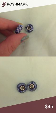 "Authentic Troll glass beads retired Set of two - retailed $34; ""Arctic stripe""; these beads will not fit pandora bracelets but will fit all others Trollbeads Jewelry"