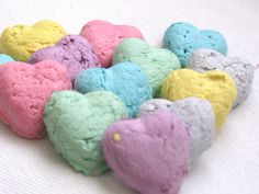 25 Heart Shaped Seed Bombs Rainbow Mix by WildBloomers on Etsy, $5.00