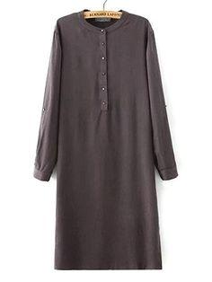 Fog Gray Roll-up Sleeve Side Split Embossed Shirt Dress | Choies