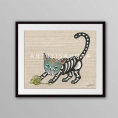 Day of the Dead Cat Print  Día de los Muertos by ArtByIsadora, #etsymnttaaca #etsymnttep #etsymnttgu10