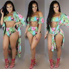 83ed5a7b3d465 2019 Sexy Print 3 Pieces Bikini Set. African SwimwearHot ...