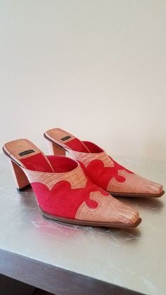 5515a0c810d Casadei Womens Shoes Sz 6M red western mules leather   leather lined canvas   fashion