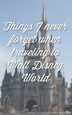 Things I Never Forget When Traveling to Walt Disney World @Walt Disney World