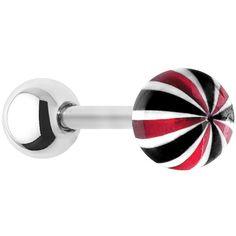 16 Gauge Metallic Black Red Ball Cartilage Tragus Earring