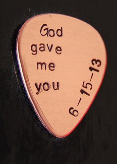 Groom Gift, I Do Wedding, God gave me you Custom Guitar Pick, Hand Stamped, Copper or Nickel Silver Guitar Pick, Christmas gift for spouse on Etsy, $19.00