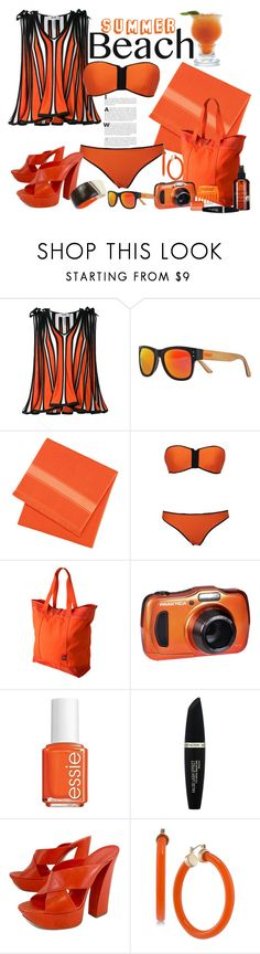 """Beach Day"" by marionmeyer ❤ liked on Polyvore featuring MSGM, Shred Optics, Mountain Khakis, Essie, Max Factor, Casadei, Trina Turk, Robert Lee Morris and beachday"