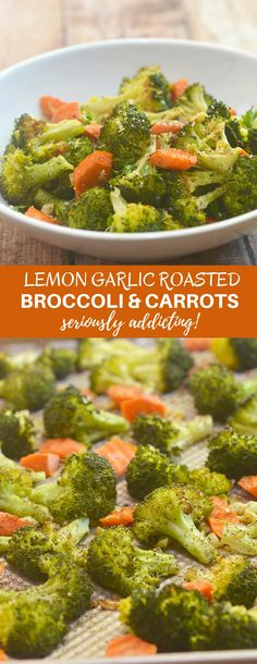 Lemon Garlic Roasted Broccoli and Carrots are your new favorite side dish. Loaded with garlic, herbs, and Parmesan and bursting with fresh lemon flavor, they're seriously addicting! via @lalainespins