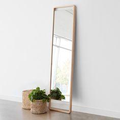 Hinoki Wood Floor Mirror | Minimalist Wood Standing Mirror – The Citizenry
