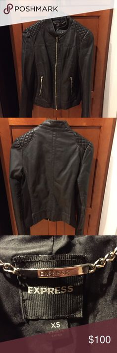 Express leather jacket Express leather jacket with cloth on the side seams and inside of the arms. Zip up. 2 pockets. In great condition! Super cute and size XS Express Jackets & Coats