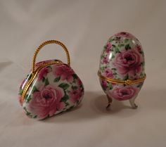 Beautiful Hinged Trinket Boxes  PURSE and EGG by TEAandSHAKER