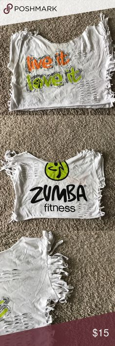 """Original Cut Zumba Fitness Top Original Cut Zumba Fitness Top - """"Live it Love it"""" - very detailed and originally cut by my very creative wife. Like a piece of art - one of a kind. Tops Crop Tops"""