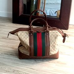In good condition. Comes with original lock and key. Dimensions- x Gucci Bags Travel Bags Vintage Gucci, Gucci Bags, Weekender, Travel Bags, Reusable Tote Bags, Key, Closet, Fashion Design, Things To Sell