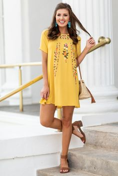 On The Border Dress, Honey This dress is seriously a must have! All that fabulous embroidery is just so trendy and pretty! And those beautiful colors stand out so well against the solid background. If you are wanting a new fab look, then you need this dress!