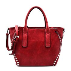 Camilla Red Stud Accent Statchel Handbag (3.540 RUB) ❤ liked on Polyvore featuring bags, handbags, purses, red studded purse, purse bag, studded purse, red purse and hand bags