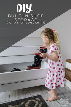 these diy built in shoe storage drawers for our split level entry way is the perfect storage solution for small entry ways