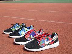 new arrivals 61564 54bab discount Custom Unisex Black Sail Upper Nike Roshe Run Supreme Floral White  Tick Black 2015 shoes