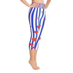 72d8ba73dc3fef Keri American Patriotism Inspired Cotton Yoga Capri Pants Leggings With  Pockets Plus Size Available-Made In USA