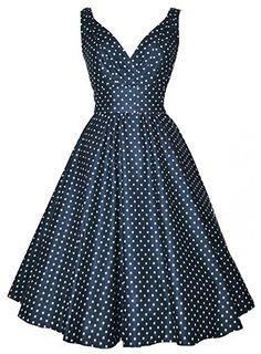 Retro V-Neck Polka Dot Print Sleeveless Dress For Women