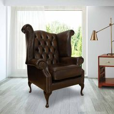 Brown Chesterfield Queen Anne High Back chair | DesignerSofas4U