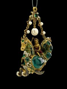 8ee75dae8ba Jewel pendant of a hippocamp with a female rider. Enamelled gold with emeralds  and pearls